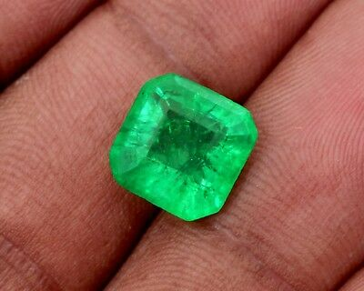 Natural Certified 7.65 Cts Green Emerald, Emerald Cut Zambian Gemstone