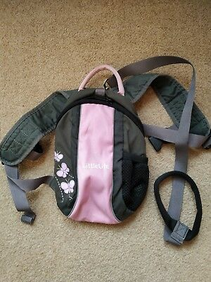 Little Life Rucksack Backpack Reins Pink and Grey