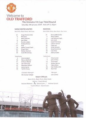 2018/19 MANCHESTER UNITED v READING (F A CUP) TEAMSHEET
