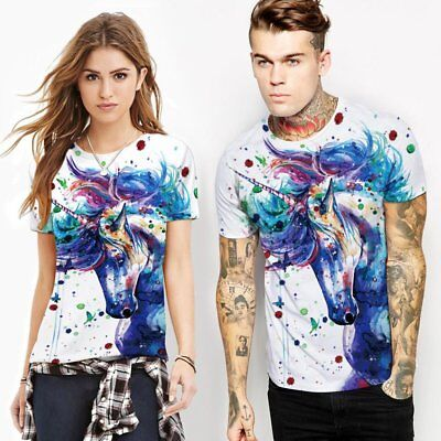 Summer Unisex Short Sleeve T-shirt O-neck Blouse Animal Printed Pullover Tops WQ