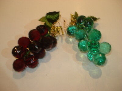 BUNDLE of TWO Bunches of Artificial Crystal Style GRAPES for Decoration