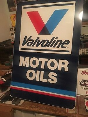 """Large Valvoline Motor Oil Gas Station 36"""" Metal Sign Double Sided with Stand"""