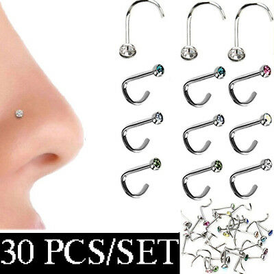 Body Jewelry Thin Gem Nostril Hoop Crystal Screw Stud Nose Piercing Nose Ring