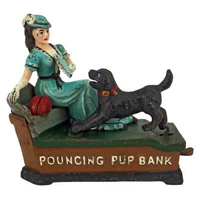 Design Toscano Pouncing Pup Die-Cast Iron Mechanical Coin Bank