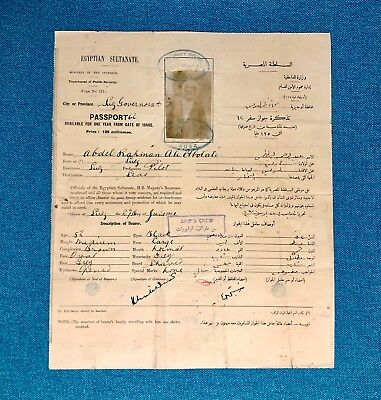 British Protectorate of Sultanate of Egypt 1920 passport issued at Suez **RARE**