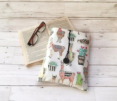 Handmade Book Sleeve, Fabric Book Cover, Llama Themed Gift, Book Lover Gift,