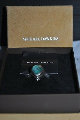 Michael Dawkins Sterling Silver Blue Doublet Ring Size 10