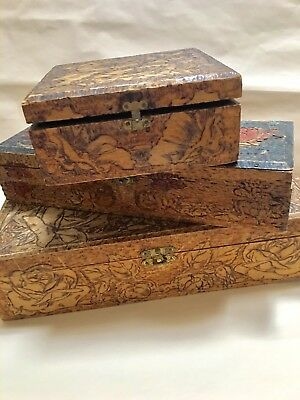 LOT 3 TRAMP FOLK PYROGRAPHY ETCHED CARVED WOOD DRESSER BOX jewelry antique