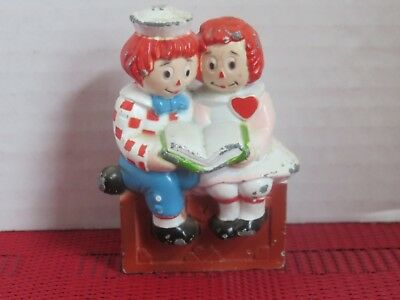 Vintage Cast Iron and Enamel Raggedy Ann and Andy Figurine/Toy/Paper Weight