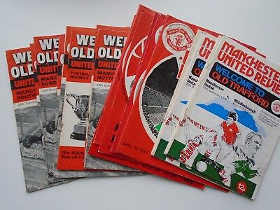 MANCHESTER UNITED  20  FOOTBALL PROGRAMMES 1970's NAMED HOME MATCHES