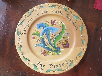Vintage Swedish Hand Painted Rosemaling Decorative Wooden Plate-Signed-16 Inch