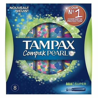 Tampax Compak Perle Super Tampons Application Femmes Fuite Protection Pack de 8