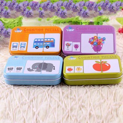 Universal Children Cognitive Card With Iron Carry Box Baby Learning Card WQ