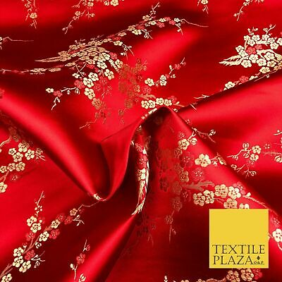 RED Oriental Blossom Chinese Brocade Satin Embroidered Dress Fabric A1118
