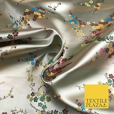 BEIGE Oriental Blossom Chinese Brocade Satin Embroidered Dress Fabric A1119
