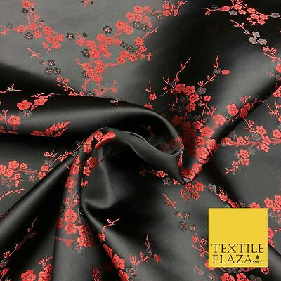BLACK Oriental Blossom Chinese Brocade Satin Embroidered Dress Fabric A1120