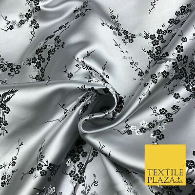 SILVER Oriental Blossom Chinese Brocade Satin Embroidered Dress Fabric A1121