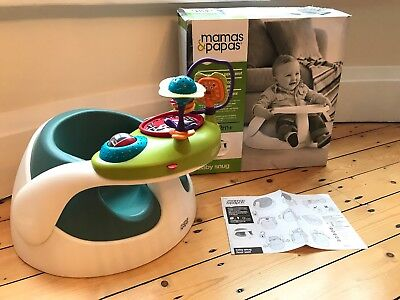 Mamas & Papas Sage & White Snug Seat + Activity Tray, Baby Weaning Floor Support