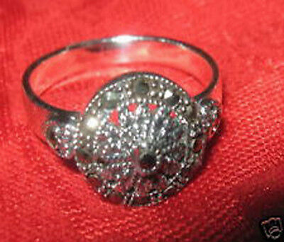 VINTAGE ANTIQUE 925 STERLING SILVER 12mm ROUND MARCASITE RING SIZE 8 + 9