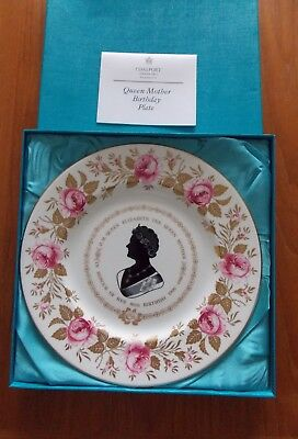 COALPORT CHINA COMMEMORATIVE PLATE -80th BIRTHDAY OF THE QUEEN MOTHER 1980 - BOX