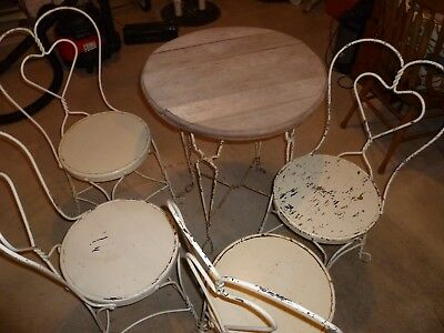 Vintage Antique Ice Cream Parlor Chairs Wrought Iron Loop Heart Back Table Set