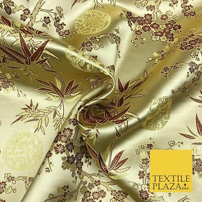 GOLD Floral Blossom Chinese Brocade Satin Embroidered Dress Fabric A1123