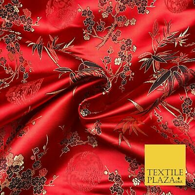 RED Floral Blossom Chinese Brocade Satin Embroidered Dress Fabric A1124
