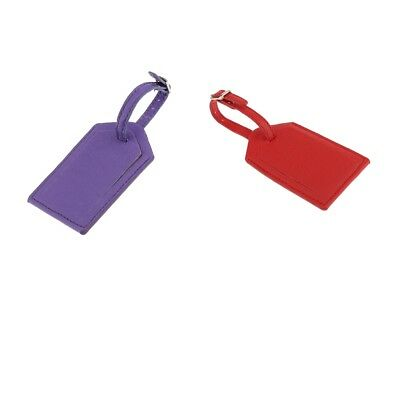 PU Leather Luggage Tag Travel Accessories Suitcase ID Name Tags -2 Packs
