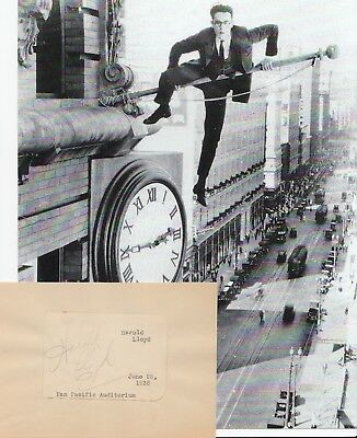 Harold Lloyd SIGNED autograph with photo Safety Last hanging from the clock RARE