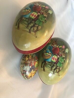 Lot Of 3 Vintage Paper Mache Easter Egg Candy Containers