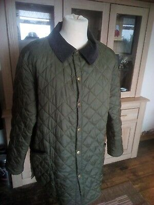 Mens Barbour Liddesdale Jacket XL Olive Green Quilted Excellent Condition