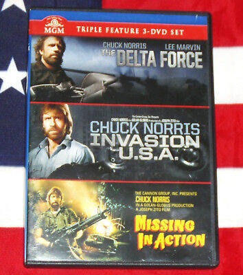 Chuck Norris Collection DVD Set The Delta Force, Invasion USA, Missing in Action