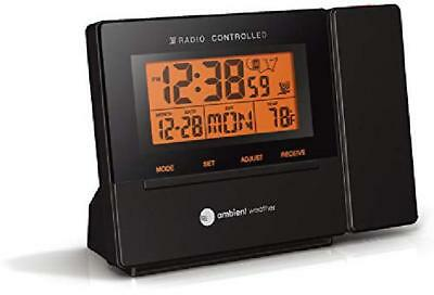 Ambient Weather Rc-8427 Radio Controlled Projection Alarm Clock With Indoor Temp