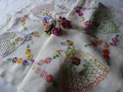Vintage Hand Embroidered Tablecloth/ Beautiful Crinoline Ladies.