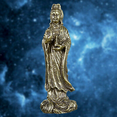 Brass Guan Yin Goddess Great Protection Thai China Amulet Wealth Talisman Lucky
