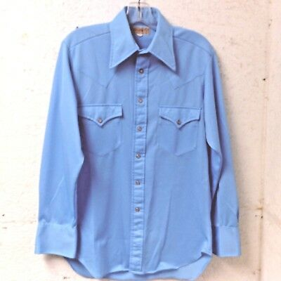 7be50851 Vintage Sheplers Mens Western Pearl Snap Button Front Shirt 15.5 33 Blue