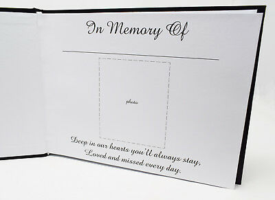 Memory Funeral Book Black Guest Book Of Condolence or Remembrance Memorial