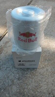 Red Bull Energy Drink Aluminum Ice Bucket Blue Plastic Ice Holder Man Cave