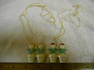 Pair Of Rare Vintage Potted Tulip Shade Pulls,40's 50's, Lamp Pulls, Old Ones!