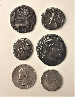 Vintage Museum replicas of Four Ancient Coins for Pendants