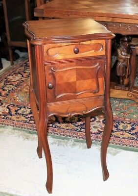 French Antique Walnut Louis XV Nightstand / Side Table | Bedroom Furniture