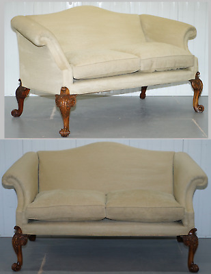 1 Of 2 Georgian Walnut Irish Hump Camel Back Sofas Highly Carved Oversized Legs