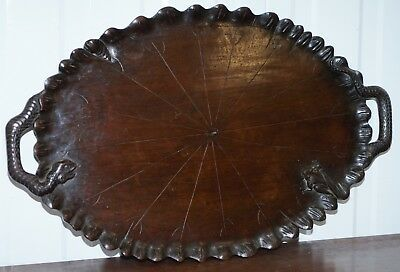 Very Rare Circa 1850 Chinese Hand Carved Serving Tray With Snake Handles & Frog