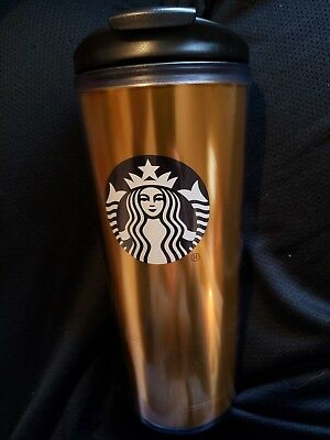 Starbucks 16oz Reusable Tumbler Cup With Lid GOLD Logo Coffee Cup Mug NEW!