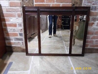 Antique Victorian mirror - rectangular, pub, vintage, three section, mahogany