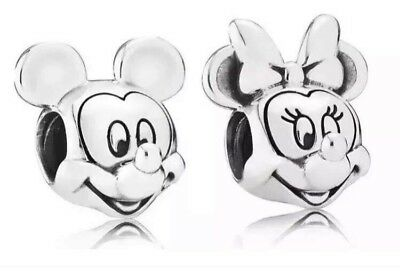 Disney Mickey and Minnie Mouse Silver Charm Bead 'pandora S925 Ale' Valentine UK