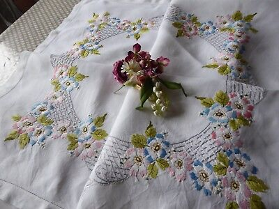 Vintage Hand Embroidered  Linen Tablecloth - Beautiful Little Flower Posies