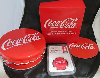 2018 Fiji Coca-Cola Bottle Cap Shaped $1 One Dollar Silver Proof Coin Box
