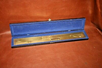 "Antique Kelvin Hughes 24"" Brass Parallel Ruler Nautical Navigation Tool in Box"