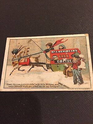 Antique Victorian Trading Card Children Sleigh Riding McLaughlins Coffee